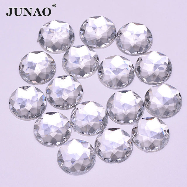 JUNAO 20mm Big Size Sewing Clear White Crystals Flat back Rhinestones  Acrylic Gems Round AB Crystal 82ea66d21946
