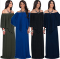 Winter New Fashion Cobalt Blue Dresses Oversized Body Solid Ruffles Maxi Dress XXXL