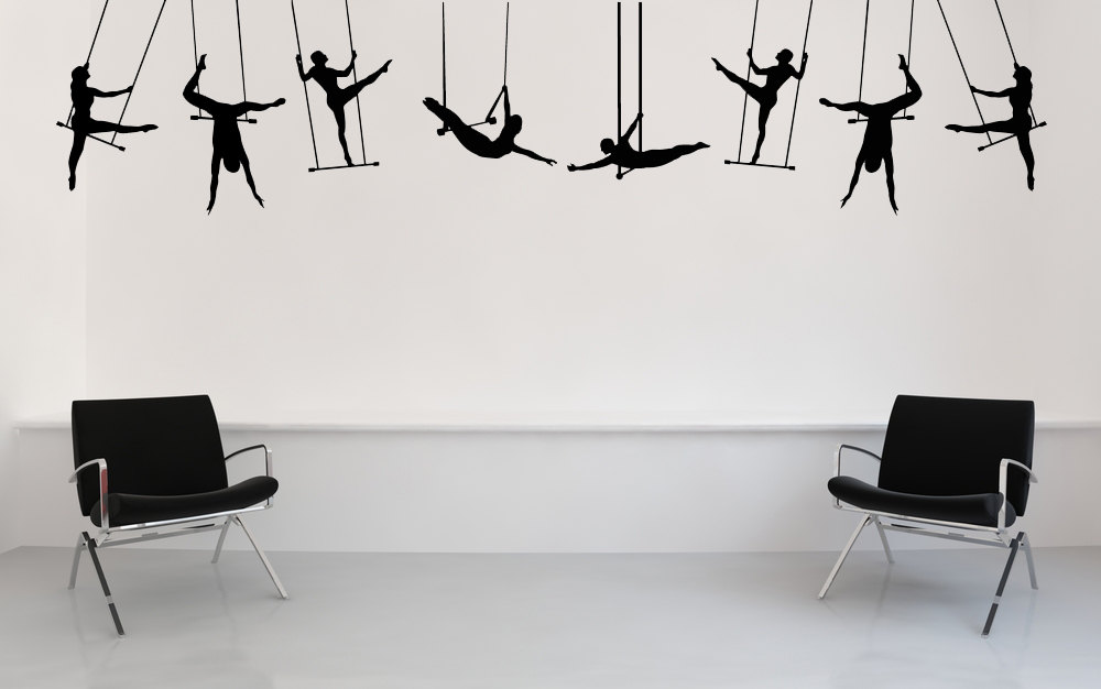 Wall Stickers Living Room Modern Chair Carnival Circus Performance Large Trapeze Artists ...