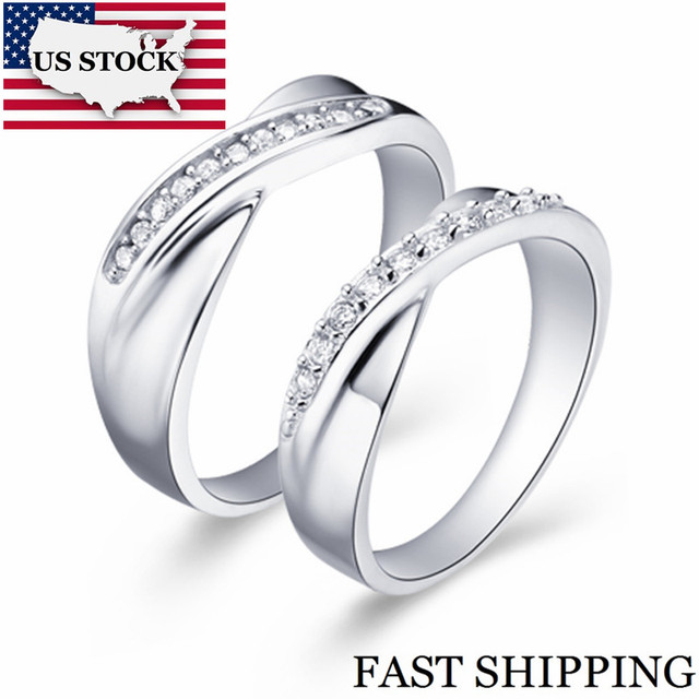 0103663beb13 STOCK de promoción vendido por 2 piezas de Color plata par de anillo de compromiso  para