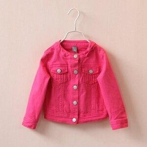 Image 1 - 2 5T באיכות גבוהה אביב בנות מעילי ג ינס הלבשה עליונה רקמת פרח ילדה מעילי ג ינס מעיל ילדים בגדי ילדים בגדים