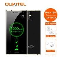 K3 мобильный телефон Mt6750t Octa Core 4 Гб + 64 Гб 5,5 двойной 2.5d экран 6000 мАч камеры 16mp 2mp спереди отпечатков пальцев Смартфон