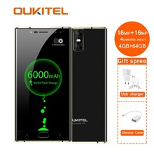 K3 мобильный телефон Mt6750t Octa Core 4 Гб + 64 Гб 5,5 «двойной 2.5d экран 6000 мАч камеры 16mp 2mp спереди отпечатков пальцев Смартфон
