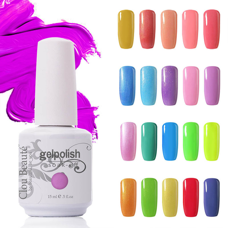 Clou Beaute Pilih Mana-mana 1 Pcs UV Gel Poland Rendam gel kuku LED UV Long Last Lacquers Nail Gel Poland