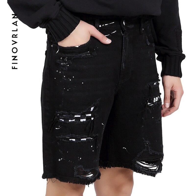 Streetwear Cashew Print Denim Shorts Men Jeans Kanye West Shorts Hole Hip Hop Bermuda Skate Board Harem Male Jogger Ripped Jeans