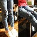 2016 весна и осень 3 - 10 лет девочка джинсы all-матч кошка рисунок брюки девушки тонкие узкие брюки B157