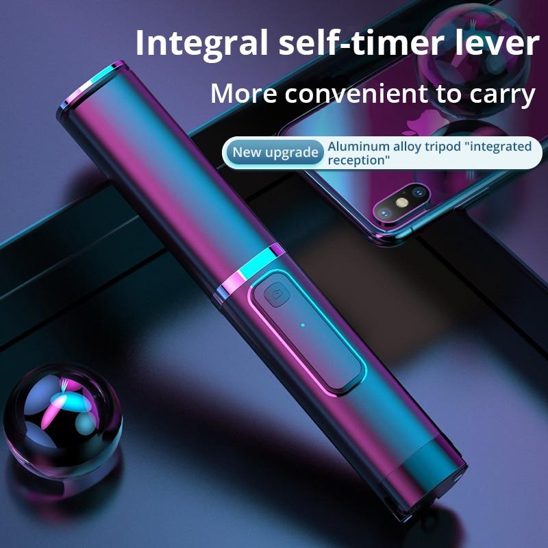 Portátil integrado tripé selfie vara escondido telefone suporte bluetooth botão telefone auto-temporizador alavanca titular para xiaomi huawei