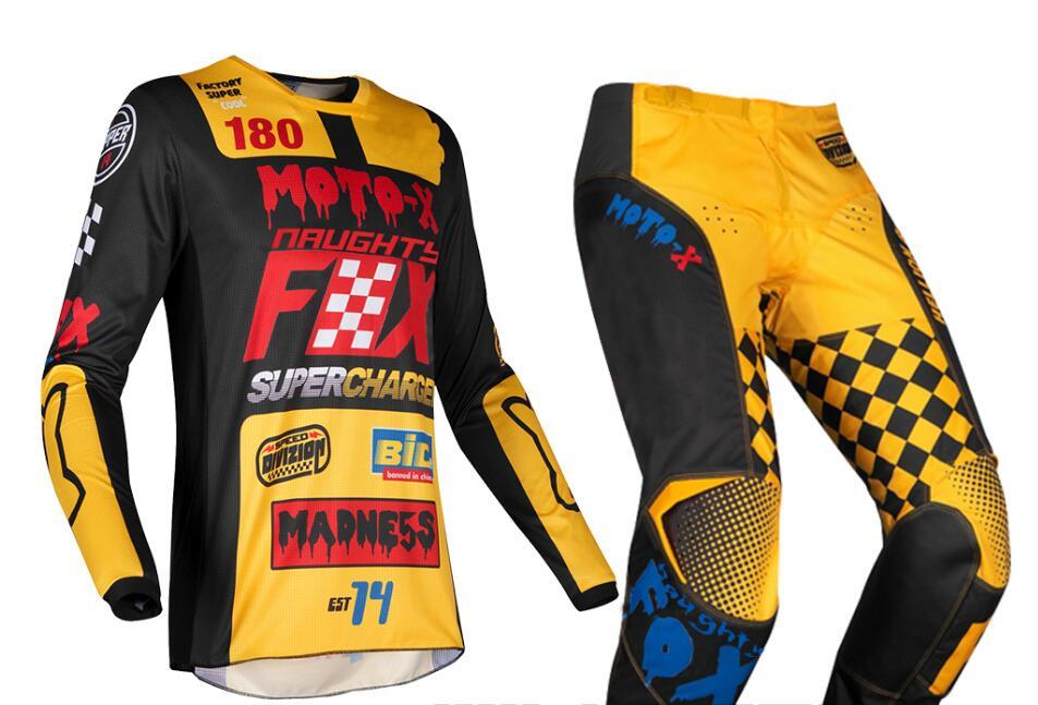купить 2019 NAUGHTY Fox MX 180 Czar Jersey Pants Mens Combo Dirt Bike Off Road Riding Motocross Protective Adult Gear Set Yellow Black недорого