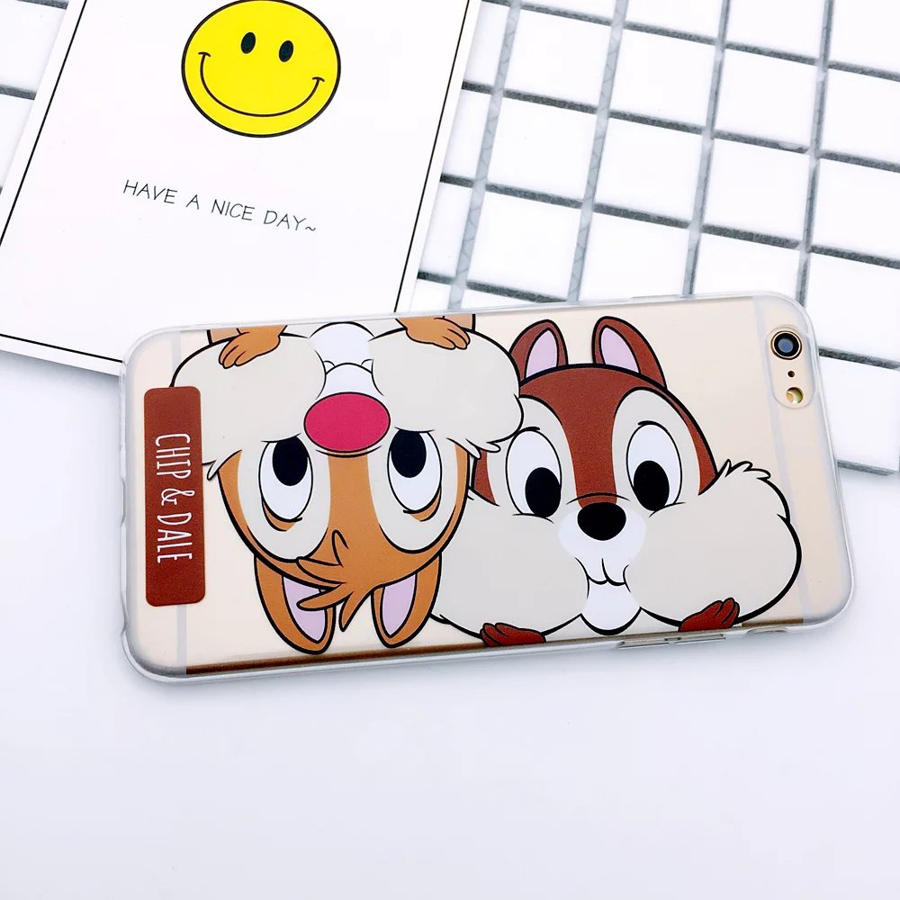 For iPhone 7 plus Cute Minnie Mickey Mouse Chip Dale Fundas Coque Phone Cases For iPhone 6 s plus Donald Daisy Duck Case Cover
