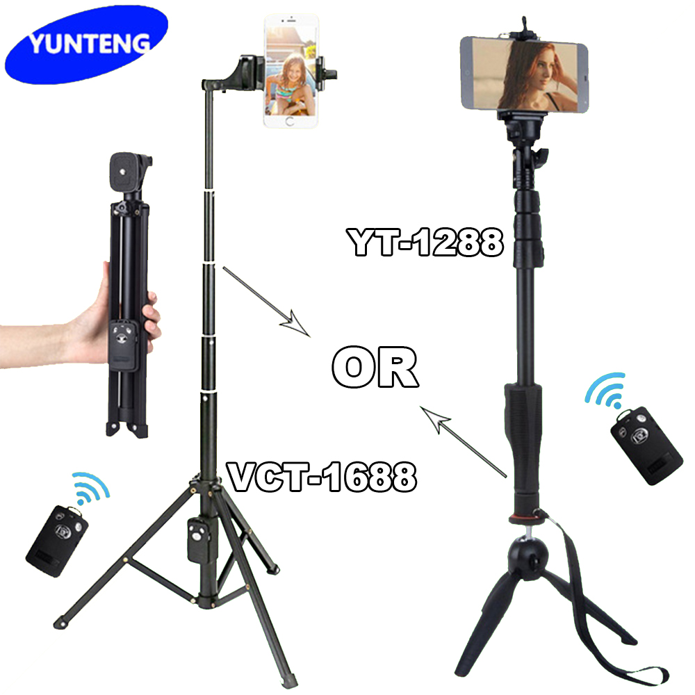 For Android Phone Gopro Dslr Camera Selfie Stick Yunteng YT 1288 Or VCT  1688 1688 Bluetooth Extendable Handheld Tripod Monopod-in Selfie Sticks  from ...