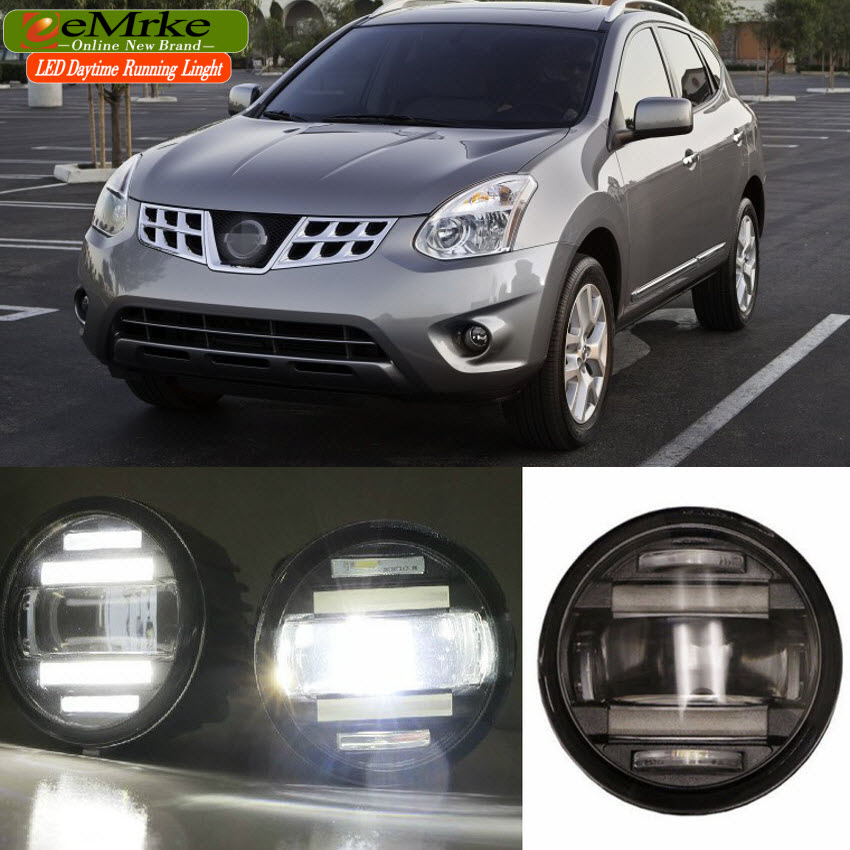 eeMrke Car Styling For Nissan Rogue S 2010-2012 2 in 1 Multifunction LED Fog Lights DRL With Lens Daytime Running Lights eemrke car styling for opel zafira opc 2005 2011 2 in 1 led fog light lamp drl with lens daytime running lights
