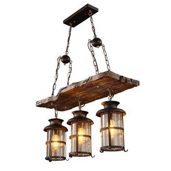 Ecolight Vintage Loft pays bois lustre lumière verre lanterne rétro suspension lampe pour café magasin de vêtements