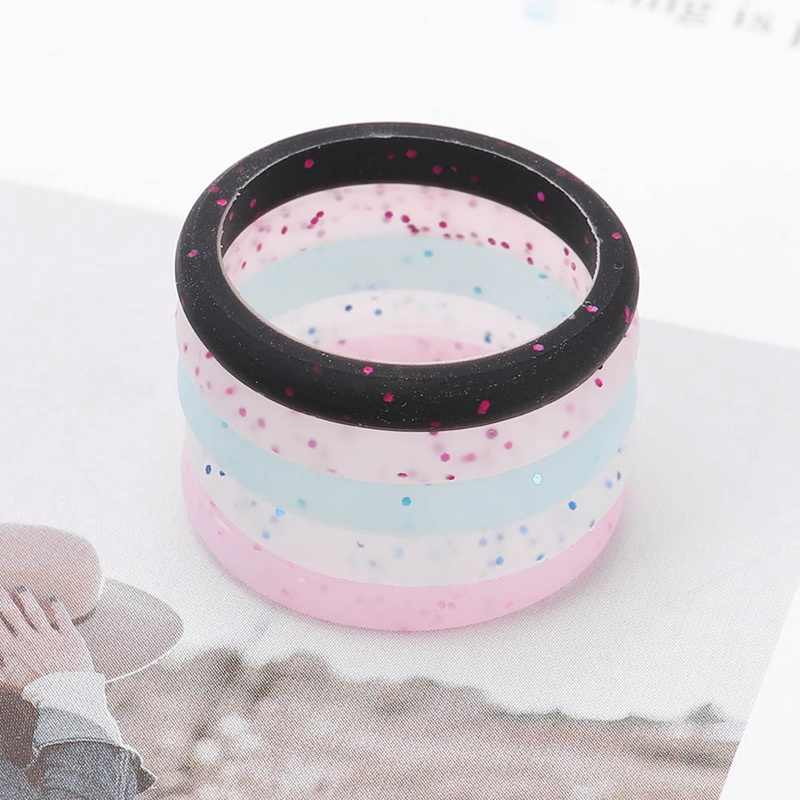Silicone Rings Pride Flexible Couple Ring Wedding Engagement Jewelry Environmental Silicone Glitter  Luminous Ring 2.7mm Width
