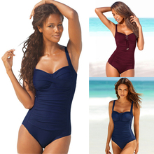 Plus Size One Piece Swimsuit Women Swimwear Solid Monokini Maillot De Bain Femme Bodysuit Female Bathing Suit Black Blue