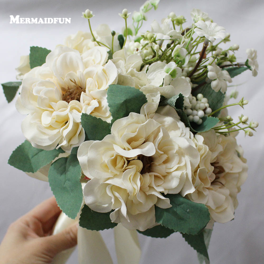 2018 Real Images Artificial Ivory Flowers Wedding Bouquet Beautiful ...