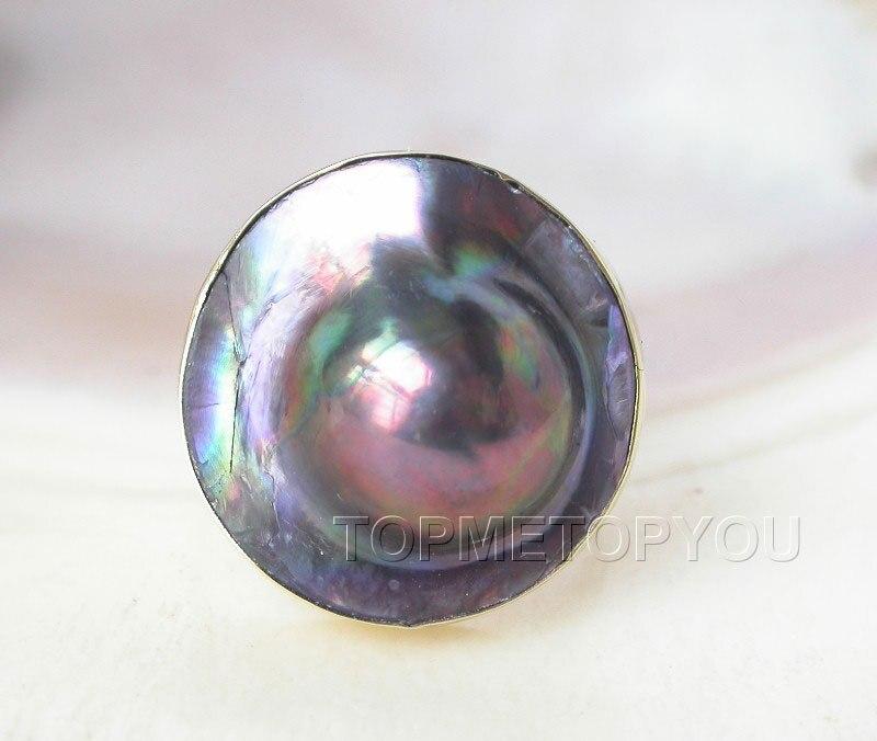 LIVRAISON GRATUITE >>>@@ wholesael 23mm arc-en-noir Du Sud mer Mabe perle anneau 925ss rempli or USA 8 #
