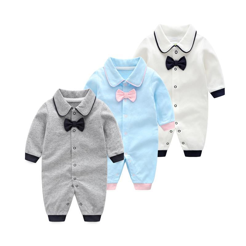 2019 Spring Autumn   Rompers   Gentleman Bow Tie Baby Boys Jumpsuit Kids Pure Cotton Long Sleeves   Rompers   Twins Baby Boys Clothes