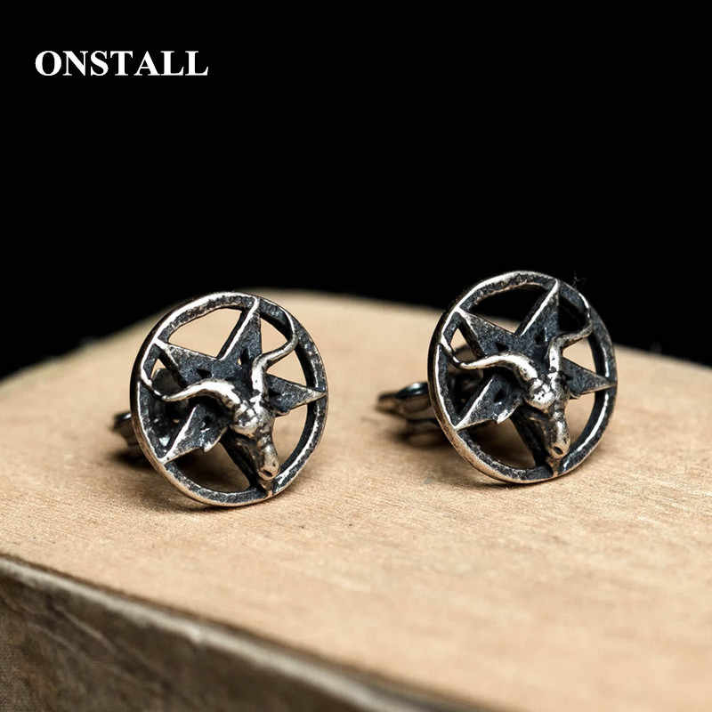 ONSTALL Quality s925 sterling silver retro old Satan sheep head earrings unisex five-pointed star earrings jewelry 3095