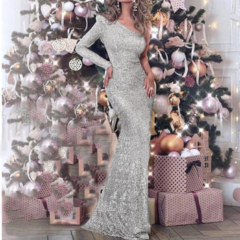One Shoulder Silver Sequined Prom Dress Floor Length Maxi Dress Stretchy Long Evening Dress