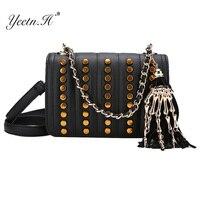 Yeetn。hファッションpuレザー女性のハンドバッグ有名なデザイナーヴィンテージスカルタッセル大女