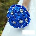 Artificial Satin Pearls Bridal Bouquets Bridesmaid Bouquet Wedding Bouquets with Crystal Royal blue Bruidsboeket Buque de Noiva