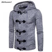 Winter Autumn Jacket For Men Gray Men's Knitted Coat with Hat Black Horn Button High Quality Male Coat Casual Brand Man Clothes