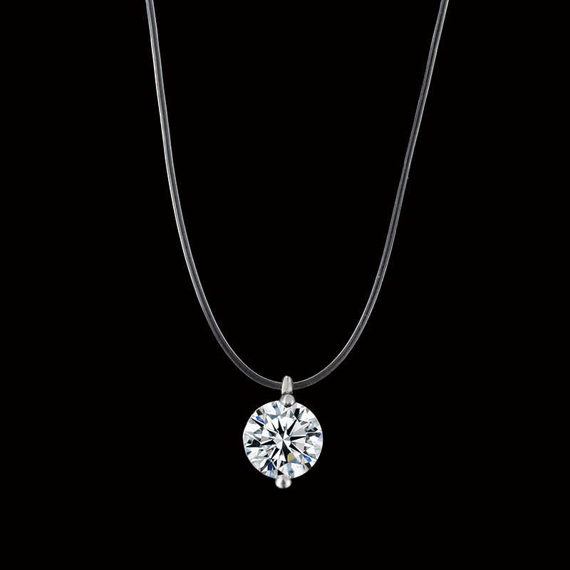 H1 Silver color Dazzling Zircon Necklace And Invisible Transparent Fishing Line Simple Pendant Necklace Jewelry