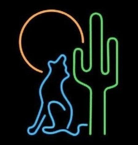 Custom Desert Wolf Moon Glass Neon Light Sign Beer Bar