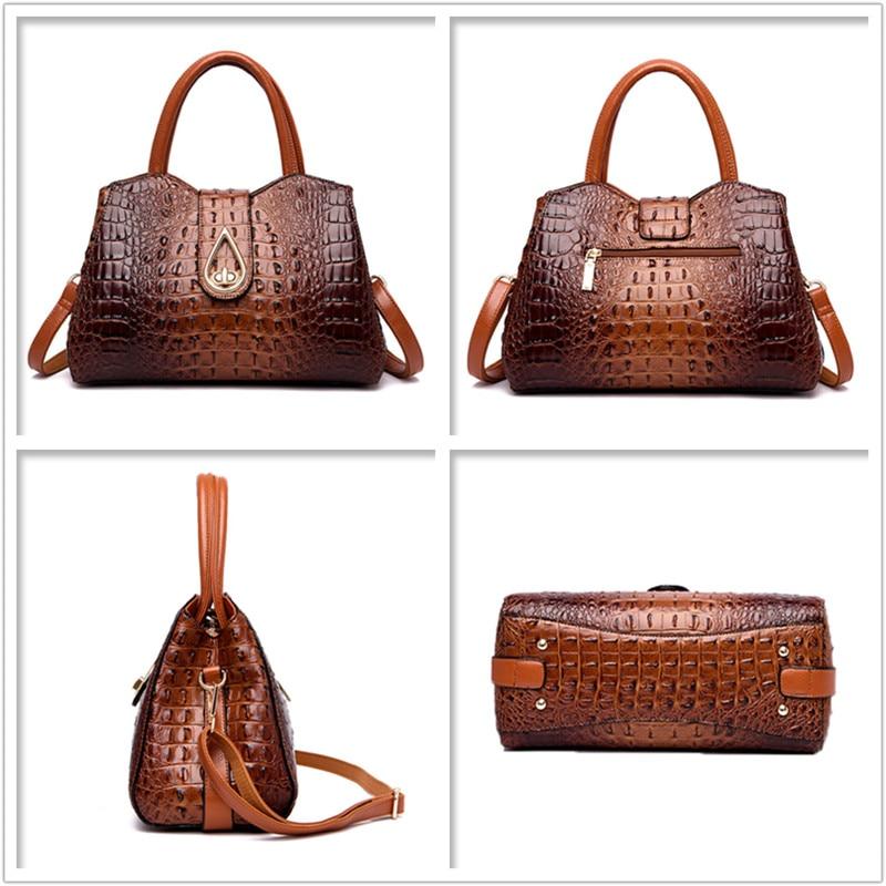 Image 2 - FLYONE Vintage Fashion Crocodile Genuine Leather Luxury Handbags Women Bags Designer Female Shoulder Bag Ladies Bolsas Feminina-in Shoulder Bags from Luggage & Bags