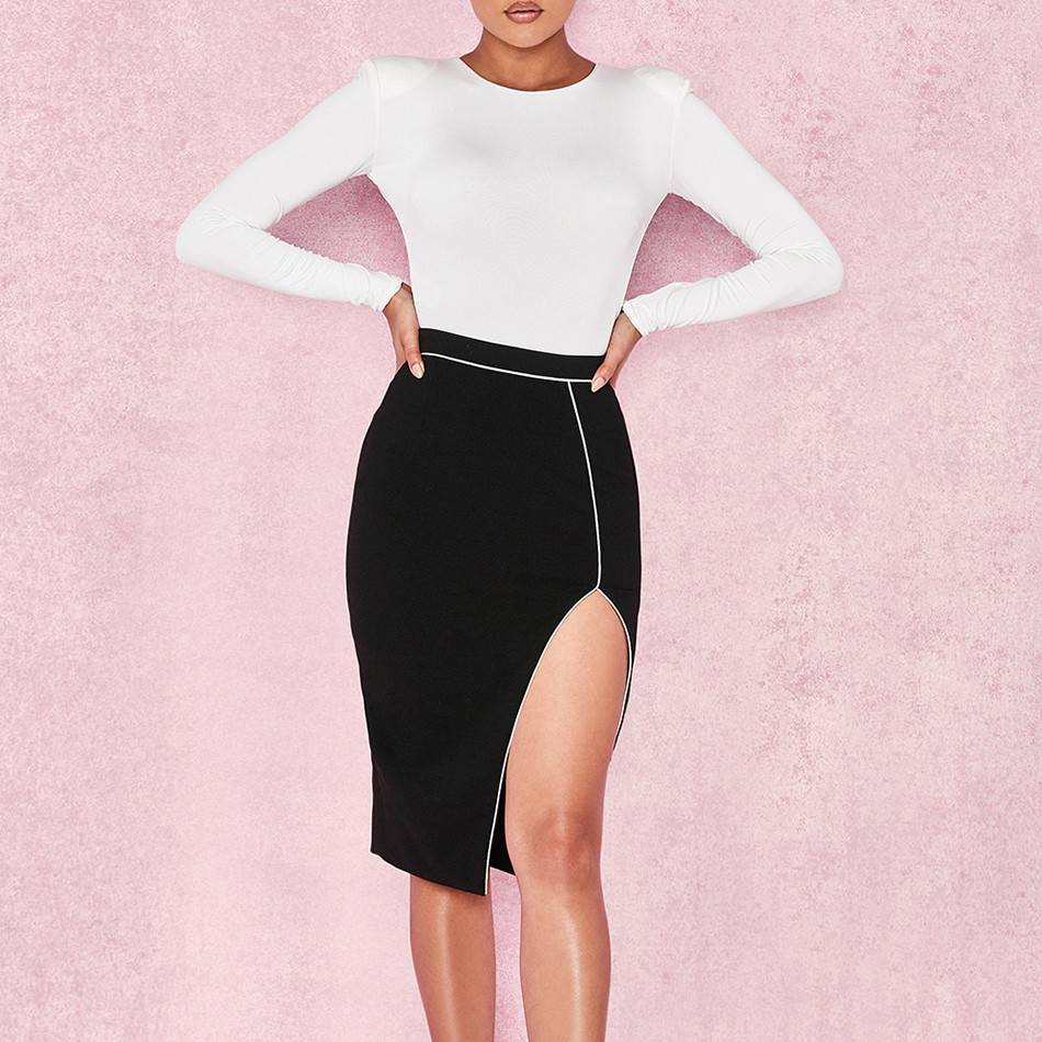 b4265729377 Hashupha Bandage Elegant Above Knee Mini Skirt Women Sets Evening Party Two  Piece Solid Fashion Top. US  31.20. O-Neck Long Sleeves ...