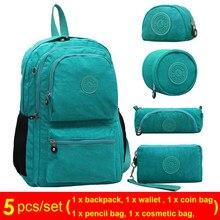 9113a9912 ACEPERCH 5 PCS/SET Casual Original Bolsa Kiple School Backpack for Teenage  Girl Mochila Escolar