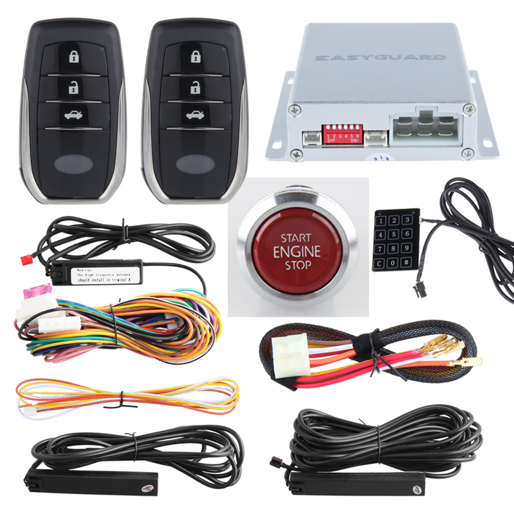 EASYGUARD PKE car alarm system with remote engine start stop, push button start, touch password keypad entry hopping code easyguard pke car alarm system remote lock unlock remote engine start push button start stop remote trunk release shock alarm