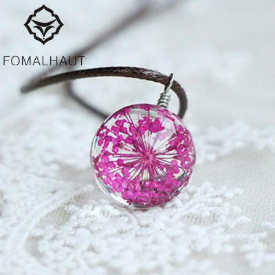 YiWu Fashion Statement Jewelry Hot FOMALHAUT Crystal glass Ball Plum flower Necklace Long Strip Leather Chain Pendant Necklaces Women 2015 Jewelry CX-119
