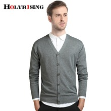 Holyrising Men Sweater Long Sleeve Slim Coat Cotton Single Breasted Cardigan V Collar