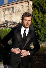 Latest Coat Pant Designs Black And Satin Peaked Lapel Formal Business Wedding Suit For Men Slim Fit 3 Pieces Tuxedo Masculino C