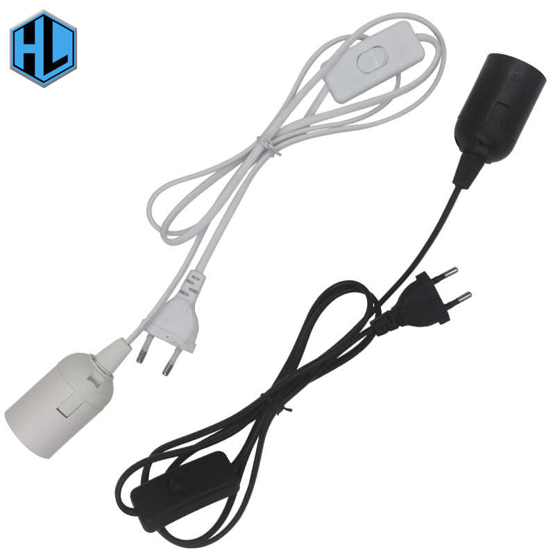 E27 Lamp Holder with Cord and On/Off Switch EU Plug 1.8m Wire White/Black for led bulb e27