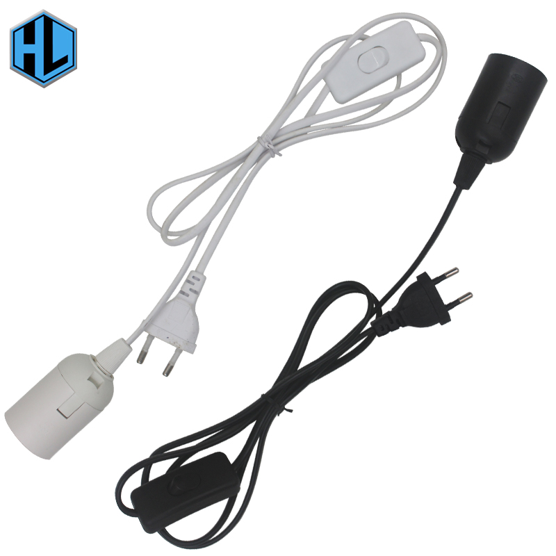 E27 Lamp Holder with Cord and On/Off Switch or Dimmable EU/US Plug 1.8m Wire White/Black for led bulb e27 okulary wojskowe