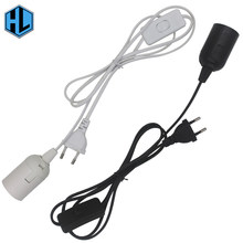 E27 Lamp Holder with Cord and On/Off Switch EU Plug 1.8m Wire White/Black for led bulb e27(China)