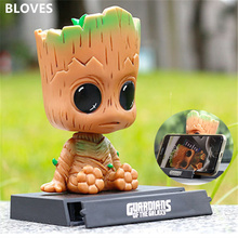Black Friday Guardians Groot Action Figure Phone Holder Shaking Head Dolls Car Furnishing Decor TV Model Toys Christmas Gift