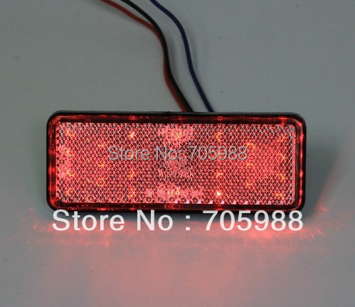 2* Red Rectangle LED Reflectors Brake Light Universal Motorcycle  1 piece red rectangle red len led reflectors brake light universal motorcycle brake light car brake lights moto stop light