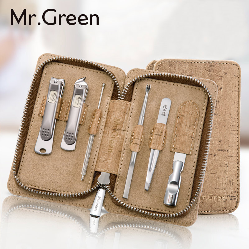 MR.GREEN6in1 Manicure Set ProfessionalStainless steel Tools Nail Clipper file Grooming Kit Ear pick Nail Care Set Tweezer Knife 2016 new arrival 6pcs stainless steel nail clipper nipper cutter pedicure manicure tools set