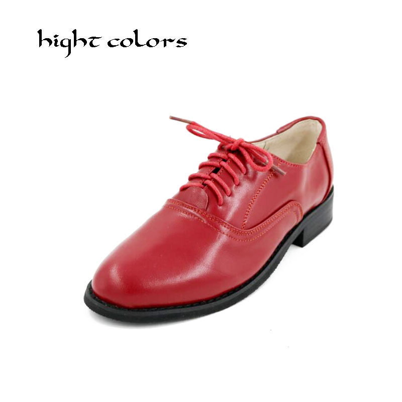 Brand 2018 Flats British Style Women Spring Genuine Leather Oxfords Flat Heel Casual Lace Up Womens Shoes Retro Brogues D101 british style men real leather brouge shoes boys new spring zip retro casual shoes craved wing tips flat man oxfords