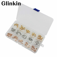 Glinkin 78pcs Silver Gold Rose Gold 26 Letters A~Z Keys DIY Keep Collective Charms fit Leather Keepers wrappable Bracelet