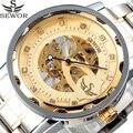 Top Marca SEWOR Esqueleto de Ouro Relógios Mecânicos Mens Designer De Strass Cinta de Aço Inoxidável Relógio Masculino Homens Relógio de Pulso