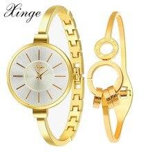 Xinge Marca de Alta Calidad de Moda de Lujo Mujeres Reloj Casual Reloj de pulsera de Cristal de Cuarzo Señoras Vestido Sencillo Conjunto de Negocios Reloj