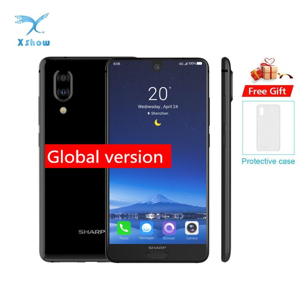 Original sharp aquos c10 s2 smartphone 4 gb + 64 gb face id 5.5 fffhd + snapdragon630 octa núcleo android 8.0 12mp 2700 mah telefone móvel