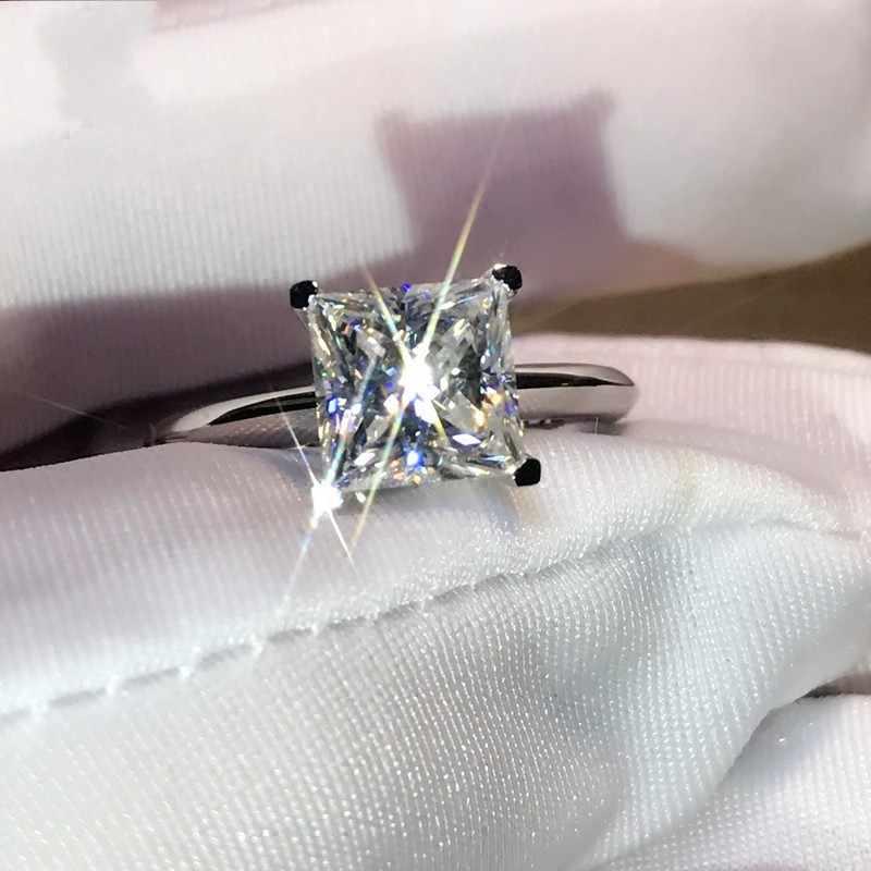 คลาสสิกSolitaireแบรนด์ใหม่หรูหราเครื่องประดับบริสุทธิ์100%เงินแท้925ปริ๊นเซสแควร์5A Z Irconiaผู้หญิงแต่งงานแหวนชุด
