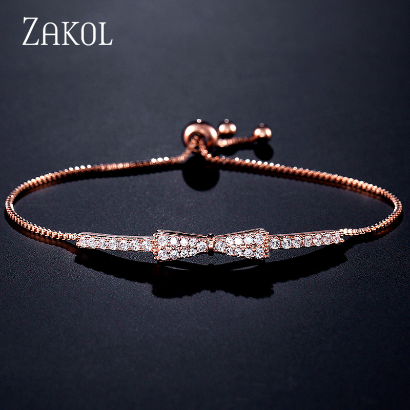 ZAKOL Newest Cute Zirconia Crystal Charm Adjustable Bracelets Bowknot Bracelet For Women Girl Wedding Party Jewelry FSBP2028