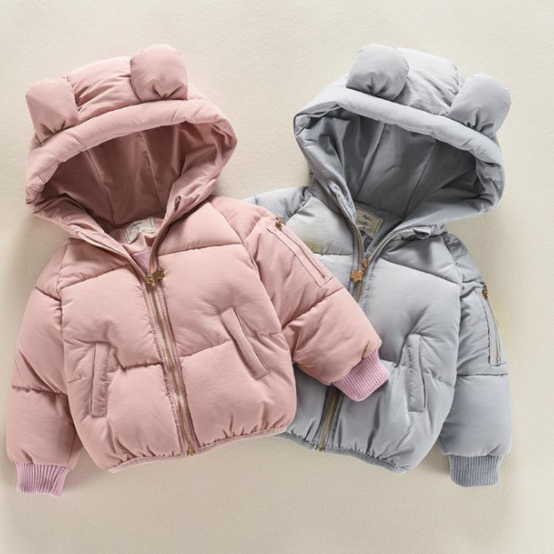 DFXD 2017 Baby Girls Winter Jacket New Fashion Children Thick Soild Zipper Hooded Outwear Kids High Quality Down Coat Pink Blue