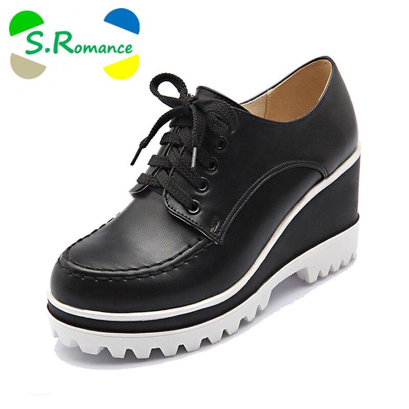 S romance talla grande 34 43 mujeres bombas moda punta redonda encaje Up cuñas Med talón tobillo botas Mujer zapatos negro blanco rojo SH405-in Zapatos de tacón de mujer from zapatos    1